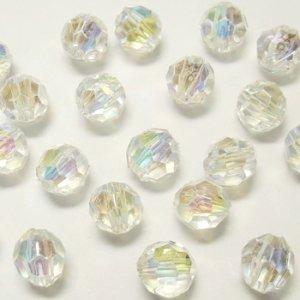画像1: プラスチックビーズ ダイヤカット 4mm クリスタルAB 【20ヶ入】 (1)