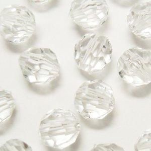 画像1: プラスチックビーズ ダイヤカット 10mm クリスタル 【10ヶ入】 (1)